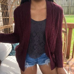 Hollister Boho Cable Knit Sweater Cardigan SZ M